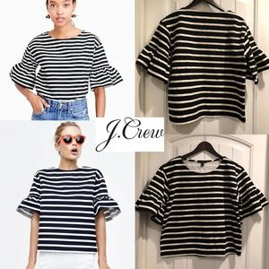 J. Crew Ruffle Sleeve Top Small NWOT
